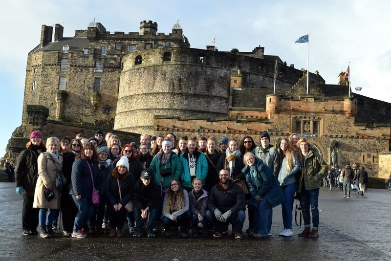 MHS students in front of Edinburgh Castle, Scotland, in January, 2018